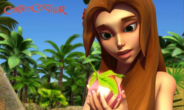 Eva admiră fructul