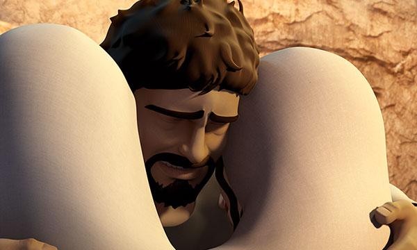 Lazăr le îmbrățișează pe Maria și Marta